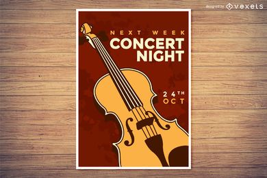 Cartaz de noite de concerto de música clássica