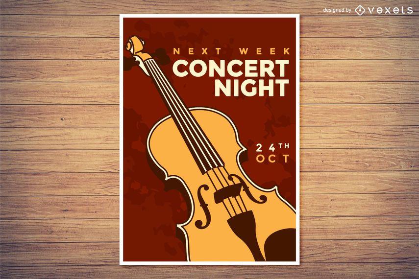 Cartel de la noche del concierto de la música clásica