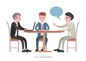 Encuentro ilustrado con gente de negocios.