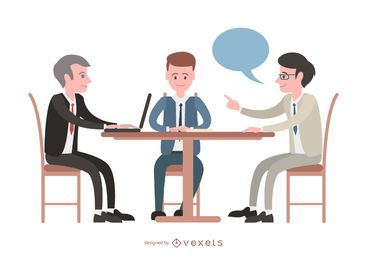 Reunión ilustrada con empresarios.