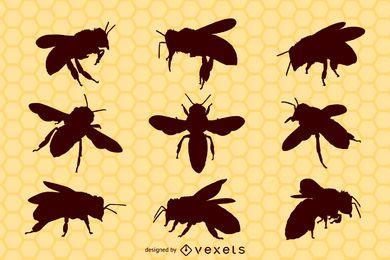 Pacote de silhueta de insetos abelha