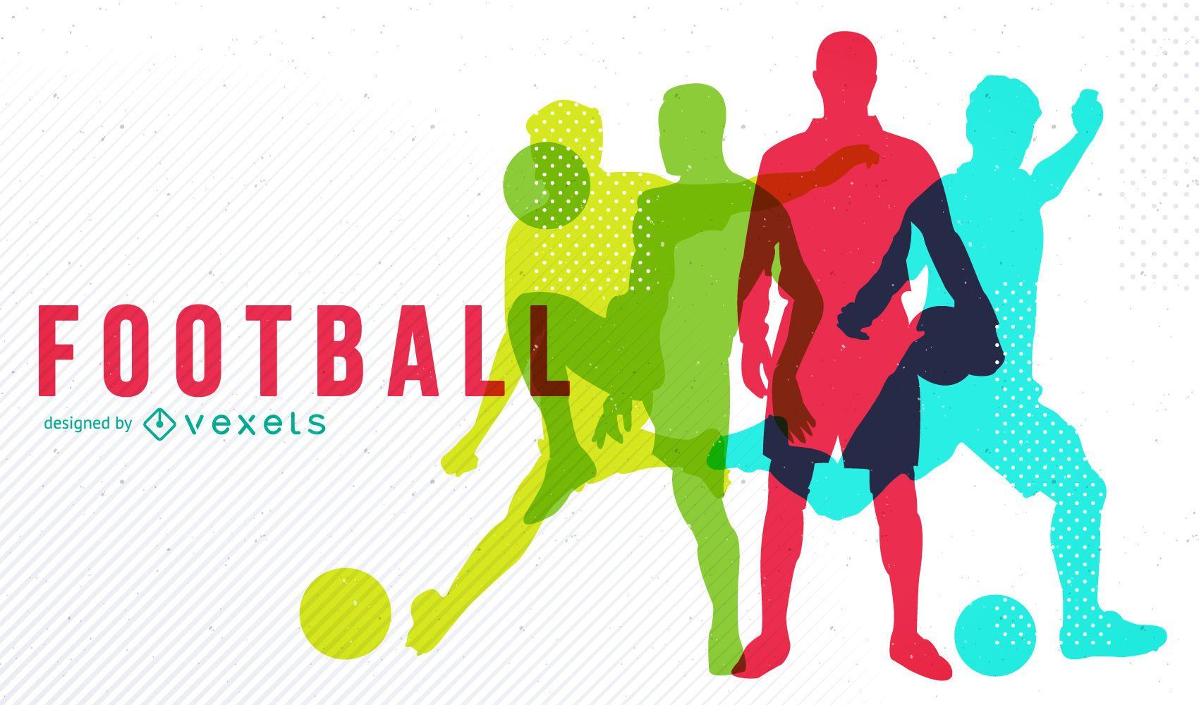 Fußballdesign mit bunter Silhouette