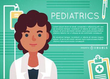 Cartaz de ilustração plana feminino médico