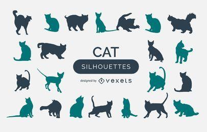 Coleção de silhueta de gato
