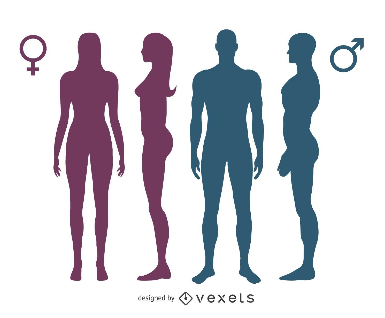 Isolated gender silhouettes