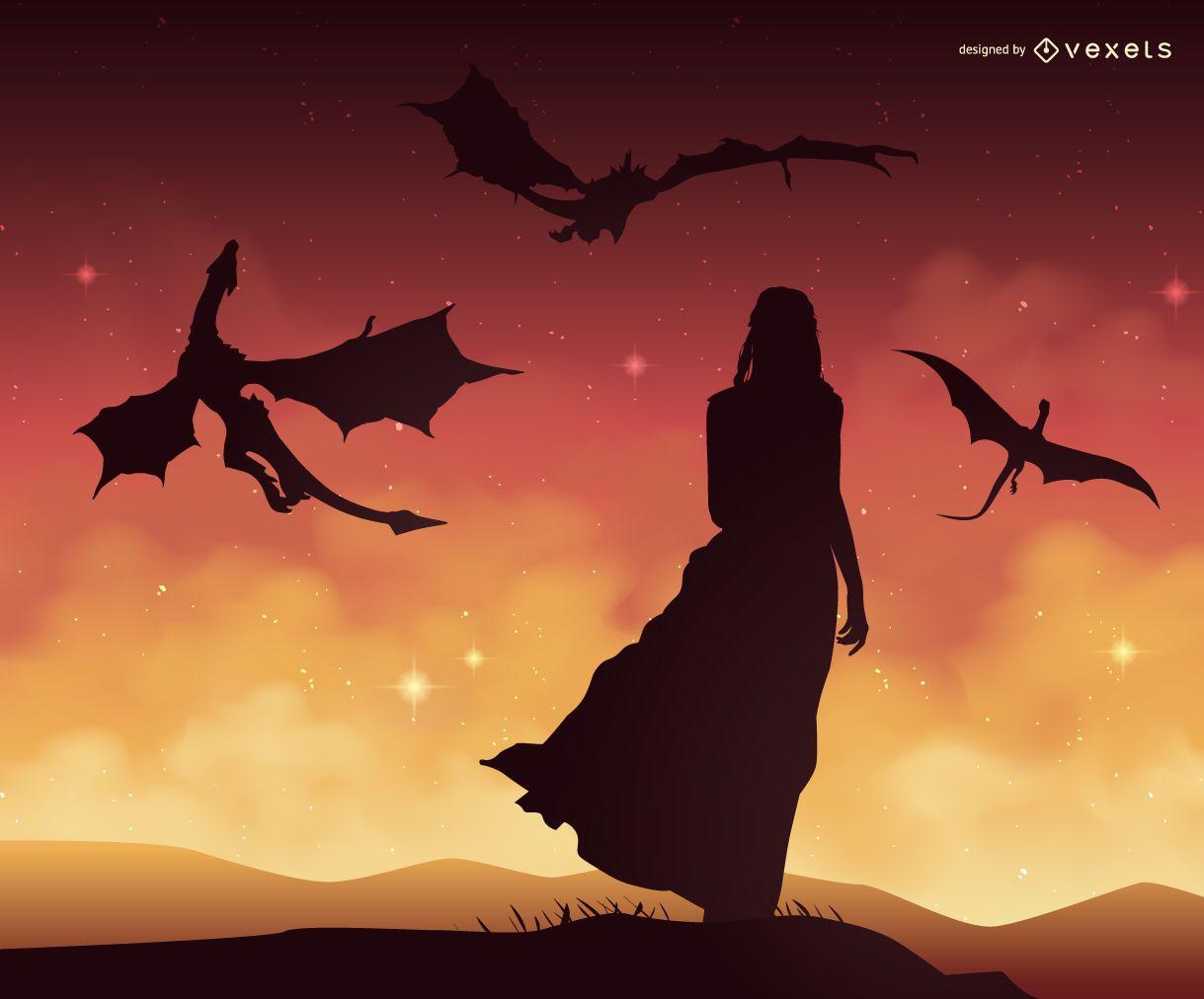 Ilustración de Juego de Tronos Daenerys Targaryen con dragones