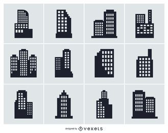City building isolated silhouette collection