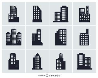 Coleção de silhueta isolada de construção de cidade