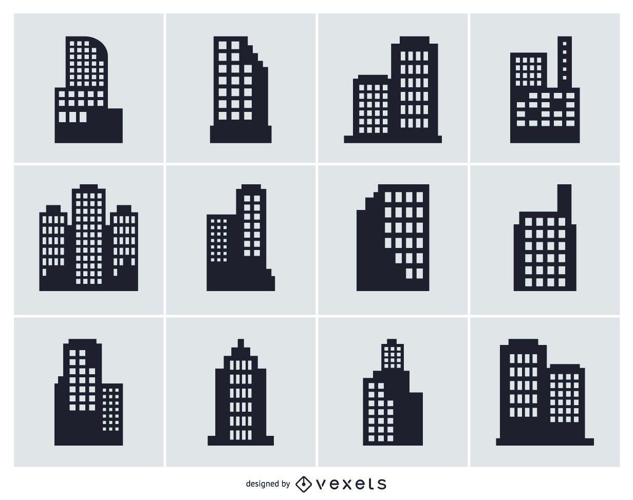 Colección de silueta aislada de edificio de ciudad