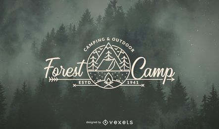 Molde do logo da floresta do acampamento