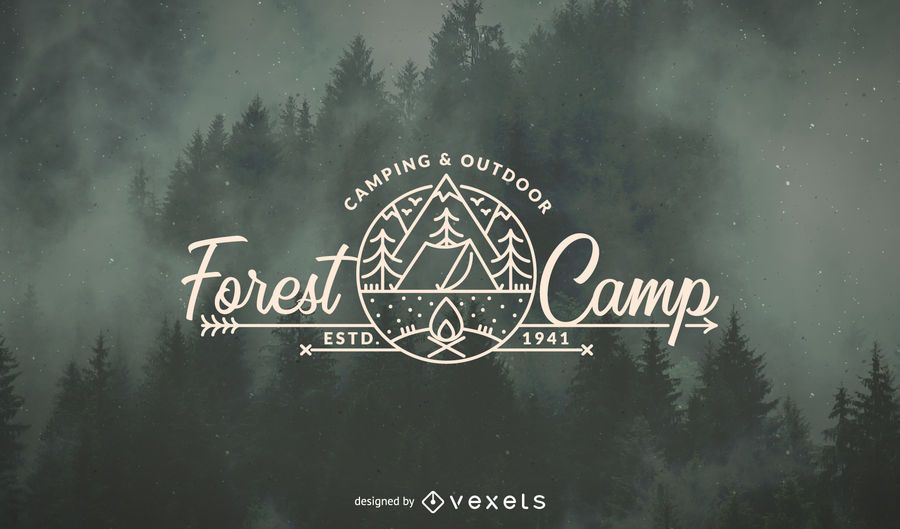 Modelo de logotipo de floresta de acampamento