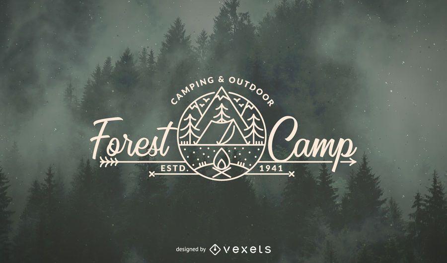 Plantilla del logotipo del bosque que acampa
