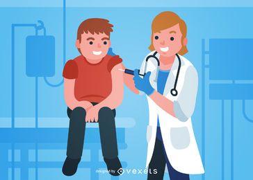 Médico vacunando ilustración infantil