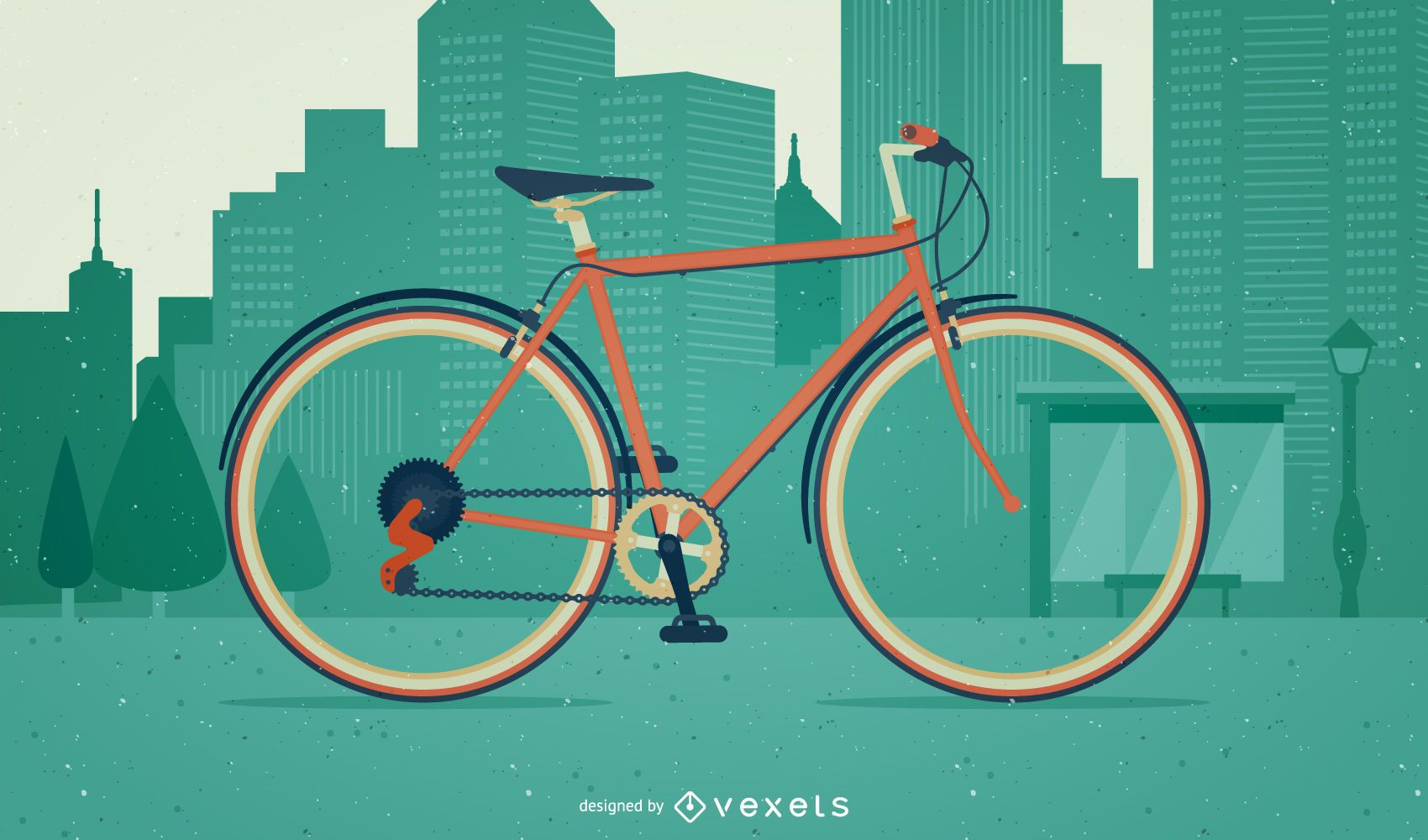 Bicycle illustration on a city