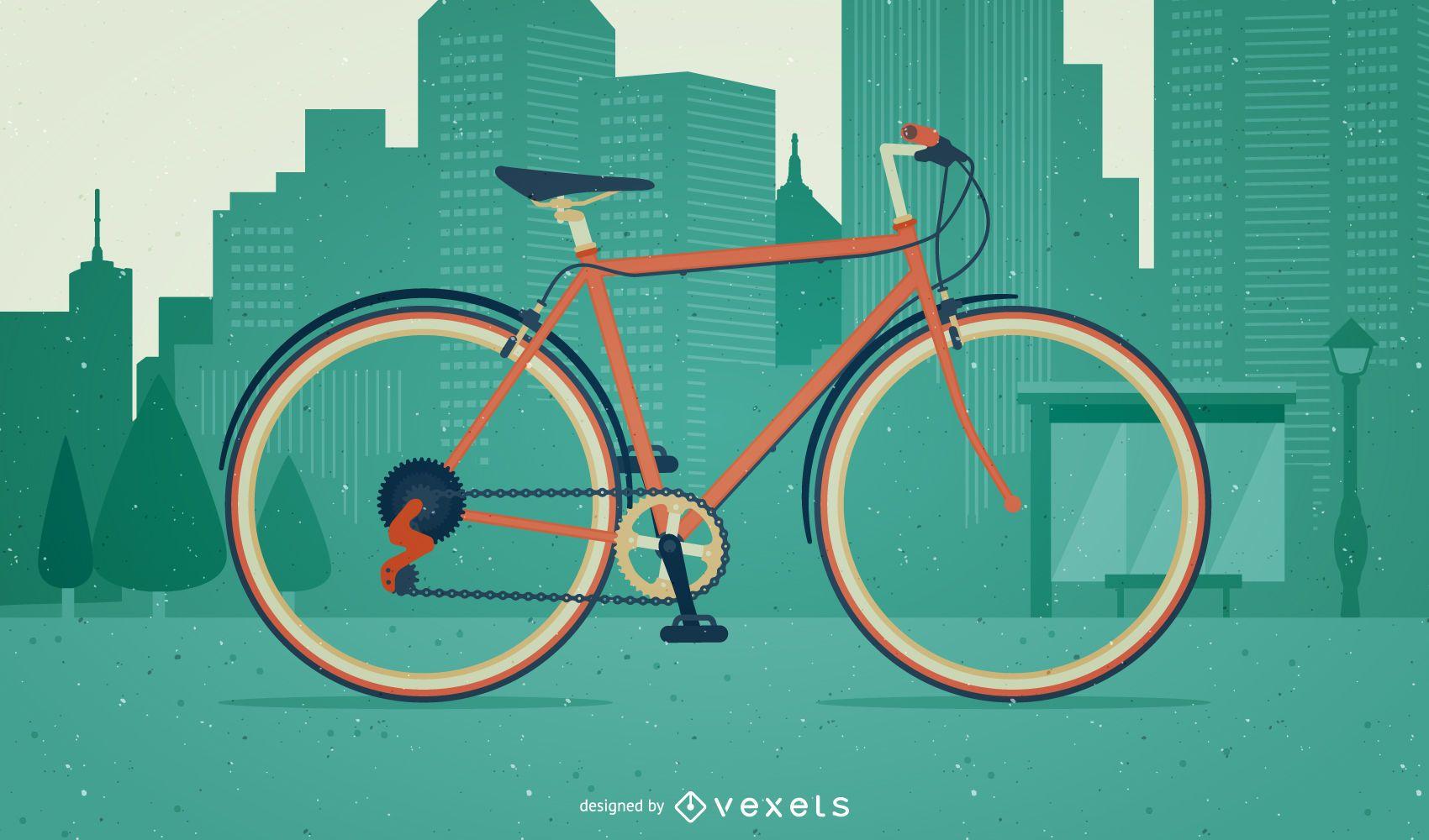 Ilustración de bicicleta en una ciudad