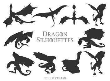 Coleção de silhuetas de dragões