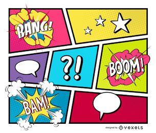 Listras em quadrinhos com sons e pop art