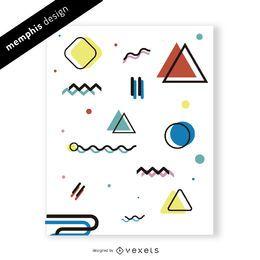 Brillante diseño de memphis con formas y colores.