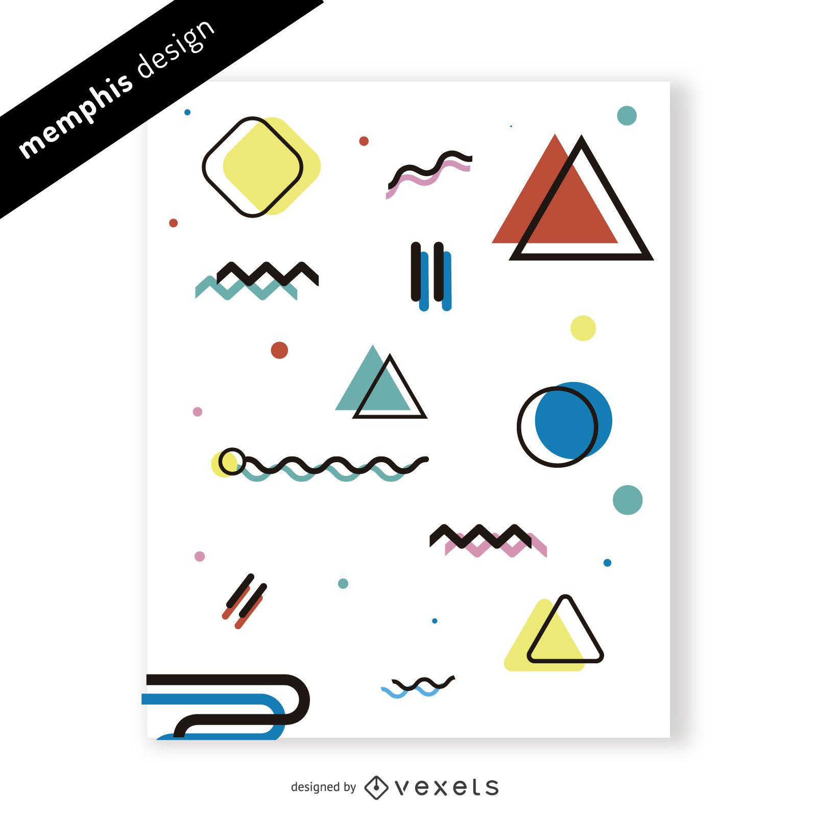 Bright memphis design with shapes and colors