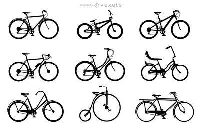 Conjunto de silhuetas de bicicleta