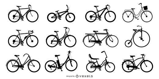 Conjunto de siluetas de bicicleta.