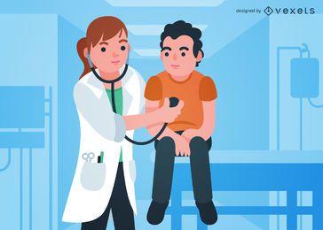 Doctor asistiendo a la ilustración del paciente