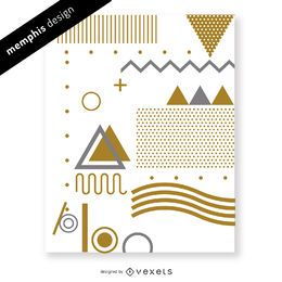 Design de Memphis de ouro e prata