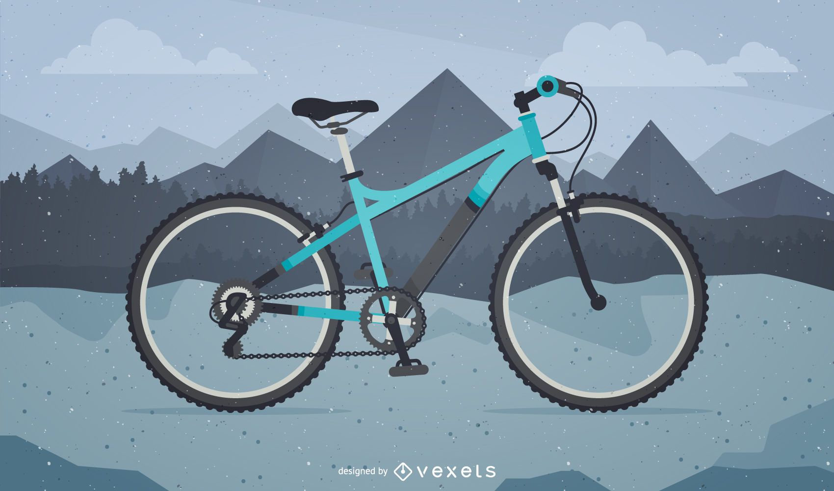 Bicycle illustration on mountains