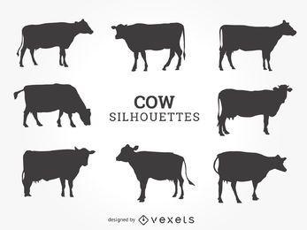Conjunto de silhuetas de vaca