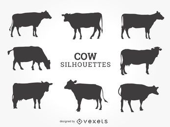 Cow silhouettes set