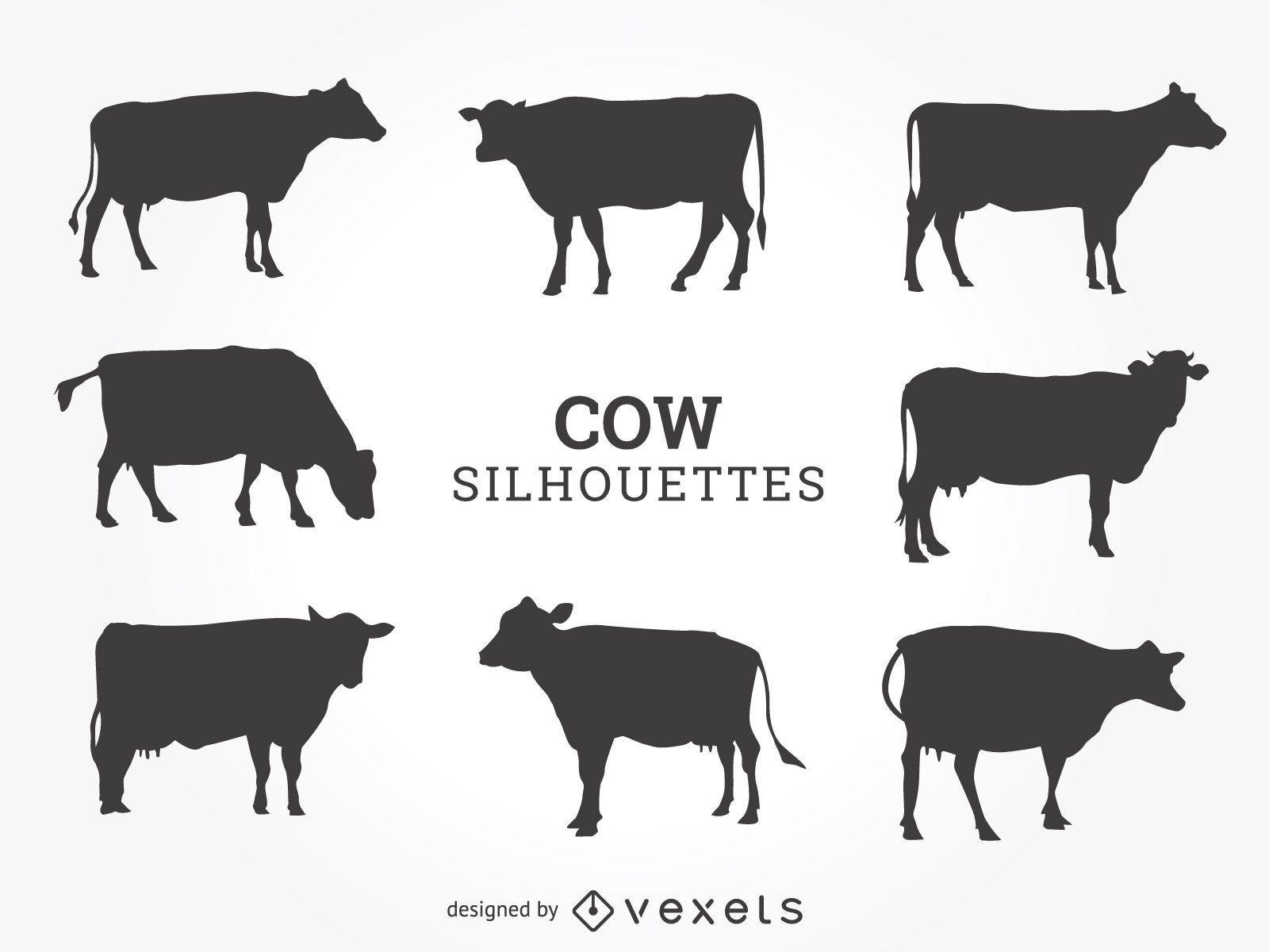 Conjunto de silhuetas de vacas