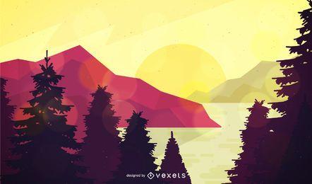Ilustração da paisagem da floresta plana