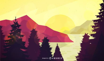 Ilustración de paisaje de bosque plano