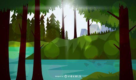 Ilustração de uma paisagem florestal