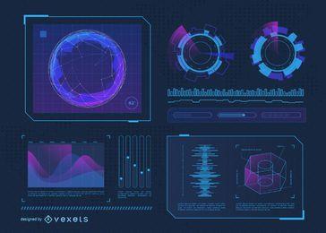 Conjunto de recursos de interface futurista