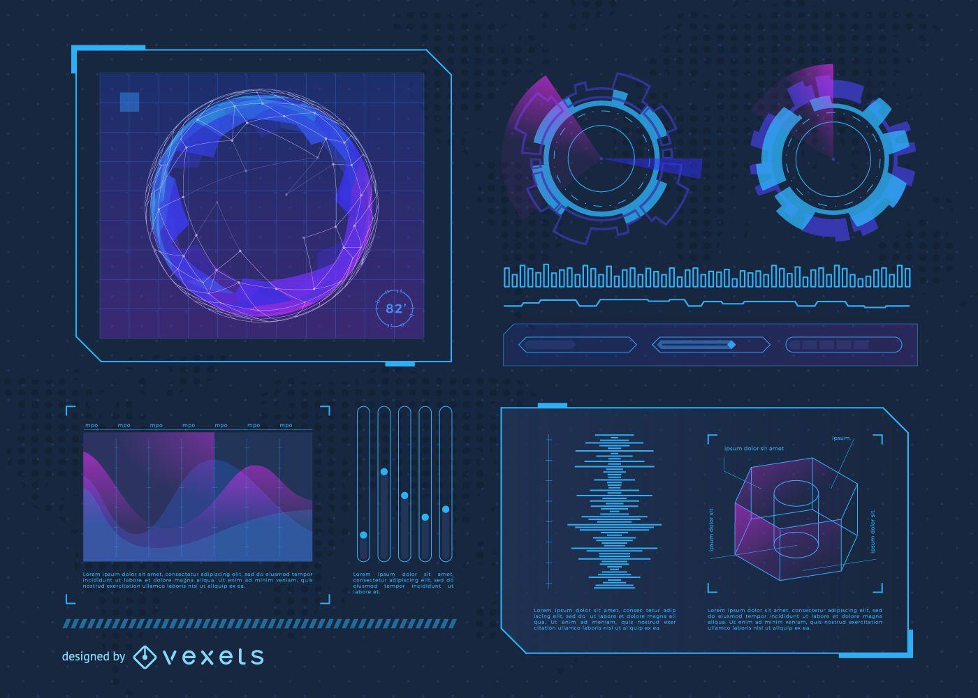 Futuristic interface assets set