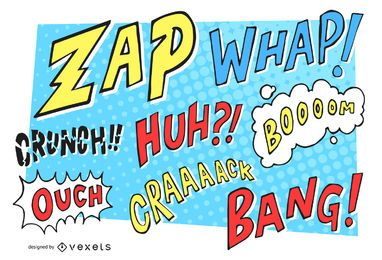 Comic pop art set of sounds and onomatopoeias