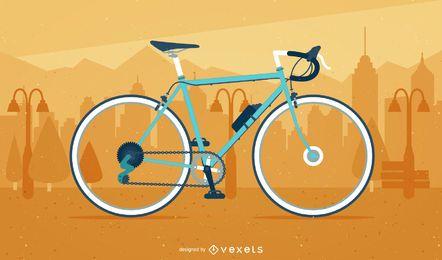 Bicicleta ilustrada sobre uma paisagem urbana
