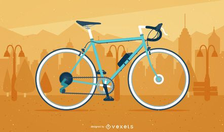 Illustrated bicycle over a cityscape