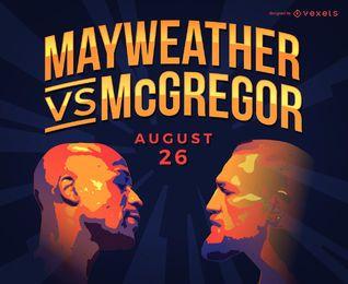 Mayweather vs McGregor mercadoria ilustração do boxe