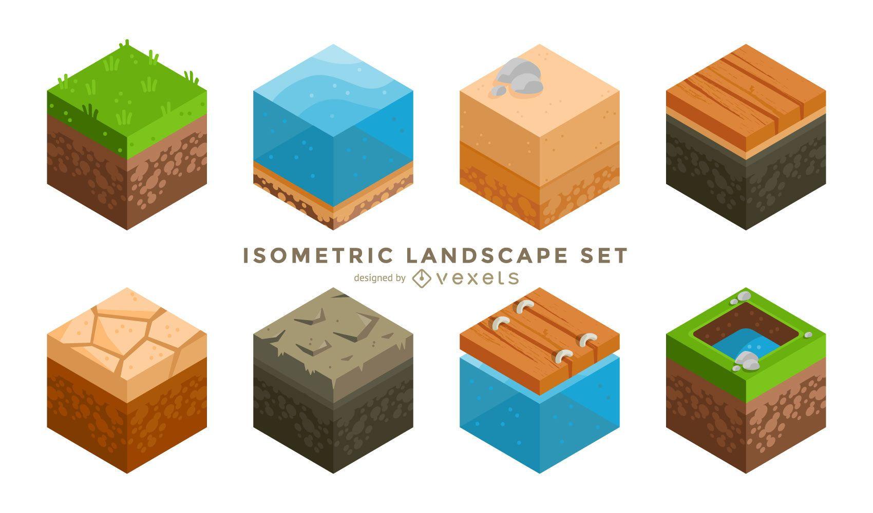 Cubo de paisaje isométrico estilo minecraft