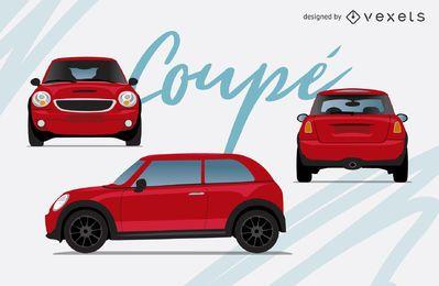 Conjunto de ilustração de carro vermelho