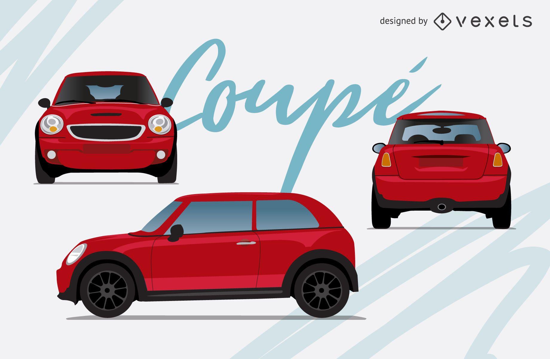 Red car illustration set
