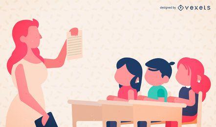 Ilustración del maestro y los niños de la escuela