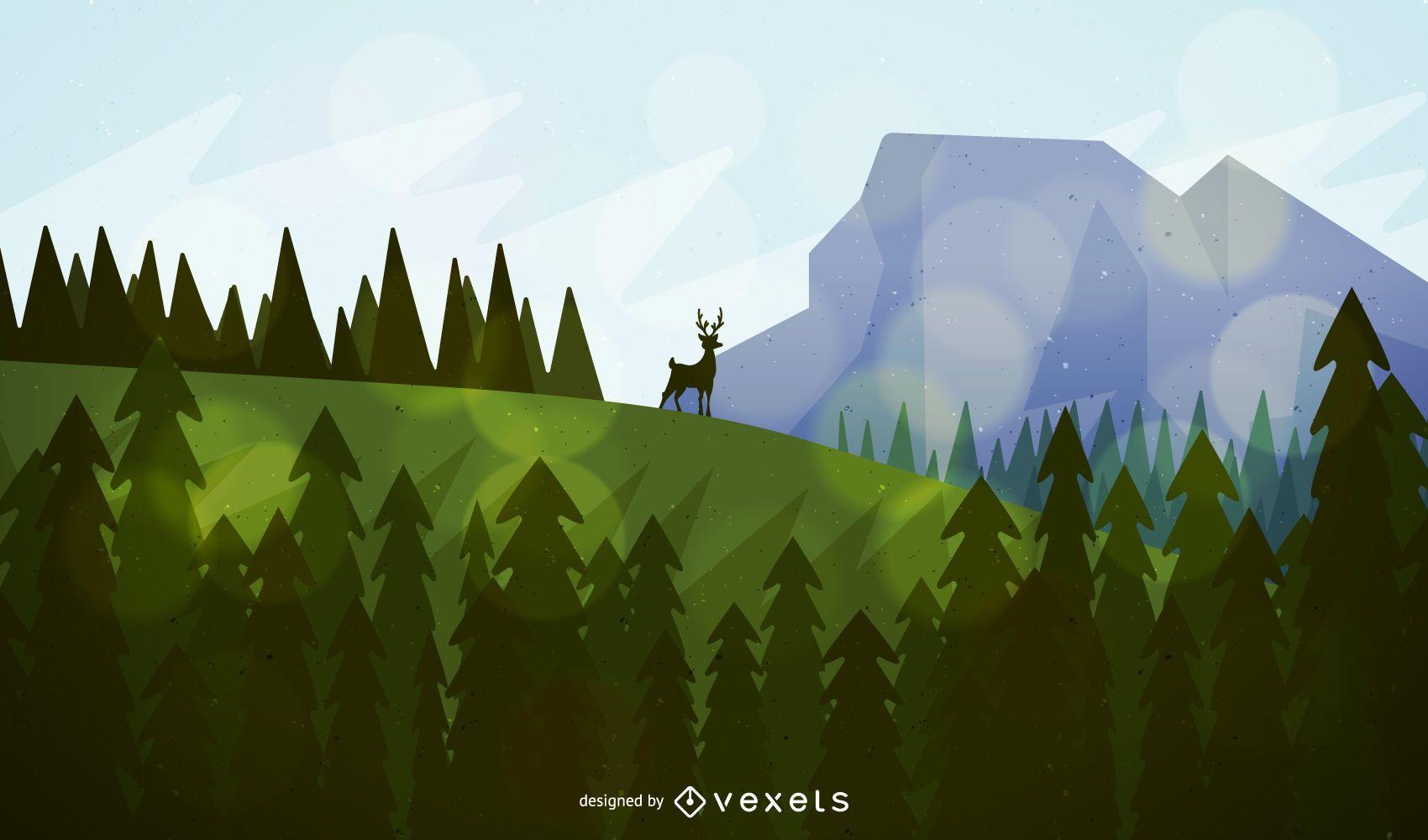 Paisaje de bosque y montaña con ciervos.