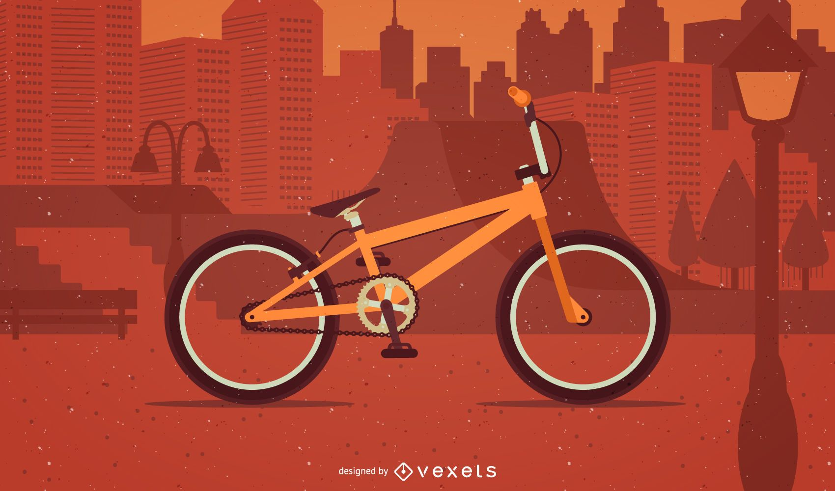 Ilustración de bicicleta plana en una ciudad