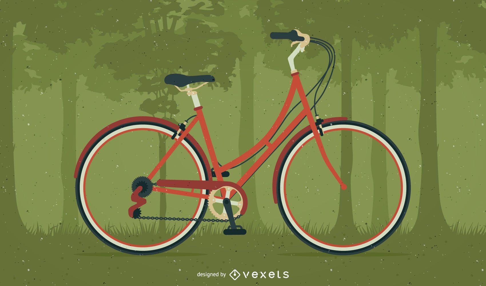 Ilustración de bicicleta en un bosque