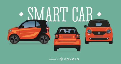 Smart car illustration set
