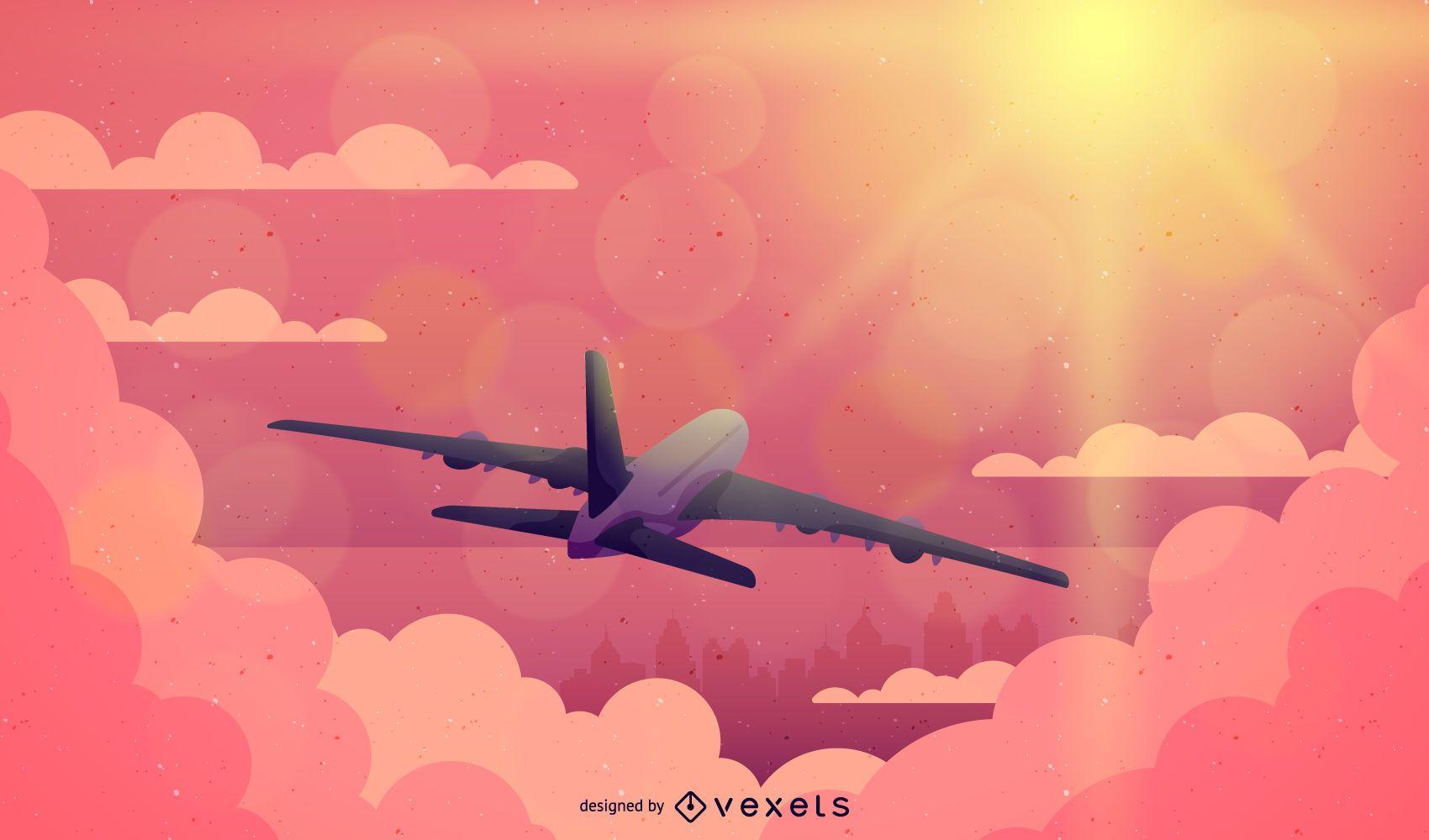 Avião voando na ilustração do pôr do sol