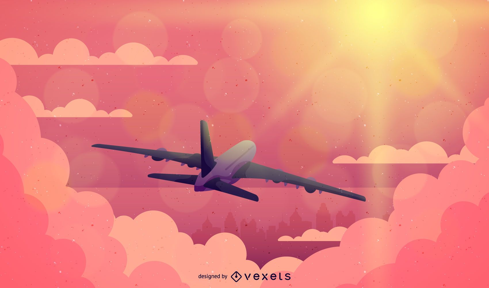 Plane flying on the sunset illustration